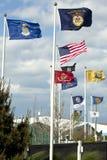 USA armstyrkor och Vetrains flaggor Royaltyfri Fotografi