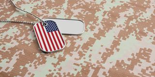 USA army concept, American flag identification tags on digital camouflage fabric. 3d illustration. USA army concept, American flag identification dog tags on Royalty Free Stock Photo