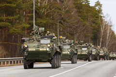 USA army Dragoon Ride. Dragoon Ride - USA army crossing Baltic states, Eastern Europe. First stop at Latvia near Jelgavkrasti Royalty Free Stock Image
