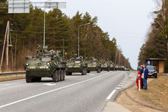 USA army Dragoon Ride. Dragoon Ride - USA army crossing Baltic states, Eastern Europe. First stop at Latvia near Jelgavkrasti Stock Images