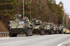 USA army Dragoon Ride. Dragoon Ride - USA army crossing Baltic states, Eastern Europe. First stop at Latvia near Jelgavkrasti Stock Photos