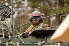 USA army Dragoon Ride. Dragoon Ride - USA army crossing Baltic states, Eastern Europe. First stop at Latvia near Jelgavkrasti Royalty Free Stock Photos