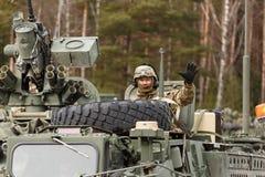 USA army Dragoon Ride. Dragoon Ride - USA army crossing Baltic states, Eastern Europe. First stop at Latvia near Jelgavkrasti Stock Image