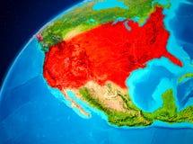 USA auf Erde vom Raum Lizenzfreies Stockbild