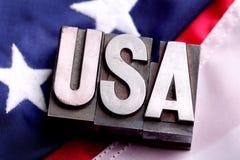 USA auf Markierungsfahne Stockfotografie