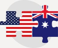 USA and Australia Flags in puzzle Royalty Free Stock Photography