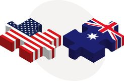 USA and Australia Flags in puzzle Royalty Free Stock Images