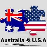 USA and Australia flags in puzzle Royalty Free Stock Photos