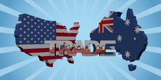 USA Australia map flags with trade text illustration. USA and Australia map flags with trade text abstract illustration Stock Image