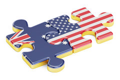 USA and Australia puzzles from flags, 3D rendering Stock Images