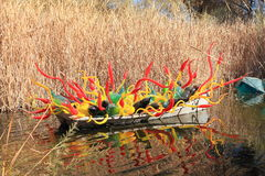 USA, AZ: Chihuly Exhibit - Sonoran Boat, 2013. Check out my lightbox CHIHULY SCULPTURES Stock Images