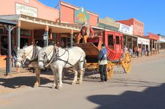 USA, AZ: Old West - Stagecoach In Historic Street. Allen Street in Tombstone today: One of the most notorious streets in the old west is alive Royalty Free Stock Image