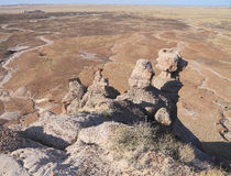 USA,AZ: Petrified Forest NP - Conglomerate Hoodoos Royalty Free Stock Images