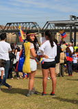 USA, AZ: Rally For Venezuela > Two Listeners Stock Photography