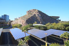 USA, AZ: Solar Panels as Roofs for a Parking Area Royalty Free Stock Image