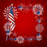 USA background design of america flag and fireworks. With line frame vector illustration Stock Photography