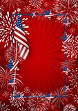 USA background design of america flag and fireworks. With line frame vector illustration Stock Photo