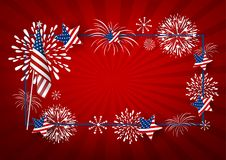 USA background design of america flag and fireworks. With line frame vector illustration Royalty Free Stock Photo