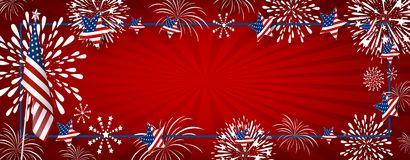 USA background design of america flag and fireworks. With line frame vector illustration Stock Images