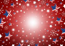 USA background design of america flag in star and fireworks. Vector illustration Stock Images
