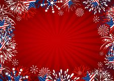 USA background design of star and fireworks on red background. Vector illustration Royalty Free Stock Photos