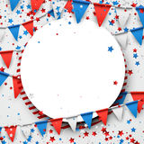 USA background with flags and stars. Round USA background with colorful flags and stars. Vector paper illustration Royalty Free Stock Photography