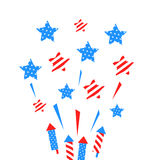 Usa Background with Rockets and Stars. Illustration Usa Background with Rockets and Stars for Independence Day of America, US National Colors - Vector Royalty Free Stock Image