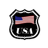 Usa badge. Grunge rubber stamp with the flag of United States of America,  illustration Stock Images