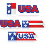 USA badges. Glossy illustration set with different United States badges stock illustration