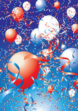 Usa balloons and ribbons. Illustration of celebration balloons and ribbons in red, white and blue Royalty Free Stock Images