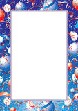 Usa balloons and ribbons border. Frame of celebration balloons and ribbons in red, white and blue Stock Images
