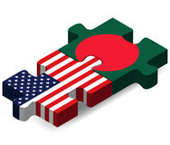 USA and Bangladesh Flags in puzzle Stock Images