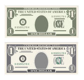 USA banking currency, cash symbol 1 dollar bill. Money set, paper banknotes one dollar.  Vector illustration in simple, flat style in two variants. Isolated on Royalty Free Stock Photography