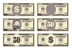 USA banking currency, cash symbol 50 dollars bill. Money set, paper banknotes fifty dollars. Vector illustration in simple, flat style in six variants Stock Images