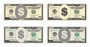 USA banking currency, cash symbol 50 dollars bill. Money set, paper banknotes fifty dollars. Vector illustration in simple, flat style in four variants Stock Photo