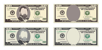 USA banking currency, cash symbol 50 dollars bill. Money set, paper banknotes fifty dollars. Vector illustration in simple, flat style in four variants Royalty Free Stock Image