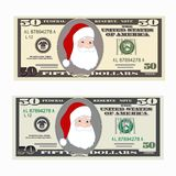 USA banking currency, cash symbol 50 dollars bill with Santa Claus. Stock Photography