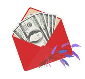 One hundred dollar banknotes in open red envelope with bouquet of lavender. USA banking currency in open red envelope with bouquet of lavender. One hundred Stock Images