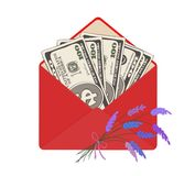 One hundred dollar banknotes in open red envelope with bouquet of lavender. USA banking currency in open red envelope with bouquet of lavender. One hundred Stock Photos