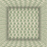 USA banknotes inside the cube. Stock Photo