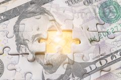 USA banknotes jigsaw puzzle on Gold bitcoin, Missing jigsaw puzz. Le pieces .Key for success concept Stock Photography