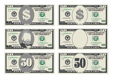 USA bankowości waluta, gotówkowy symbol 50 dolarów rachunków ilustracji