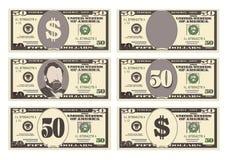 USA bankowości waluta, gotówkowy symbol 50 dolarów rachunków Obrazy Stock