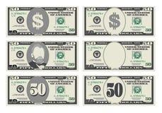 USA bankrörelsevaluta, kontant symbol 50 dollar räkning stock illustrationer