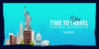 USA banner. Time to Travel. Journey, trip and vacation. Vector flat illustration. USA banner. Time to Travel. Journey, trip and vacation. Vector flat Stock Photography