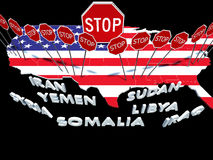 USA barred citizens of seven Muslim majority countries from ente Royalty Free Stock Photos