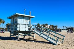 USA Beach and Lifeguard Tower in Santa Monica, California royalty free stock photo
