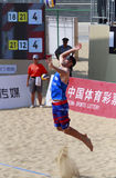 usa beach volleyball player patterson jump serve Stock Photos
