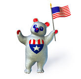 USA Bear - includes clipping path. 3D render of a red, white and blue bear holding a US flag stock illustration