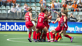 USA beats England during the Hockey World Cup 2014. THE HAGUE, NETHERLANDS - JUNE 1: Team USA celebrating a goal during the Hockey World Cup 2014 in the match royalty free stock photo